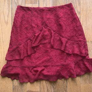 Lulus red ruffle skirt